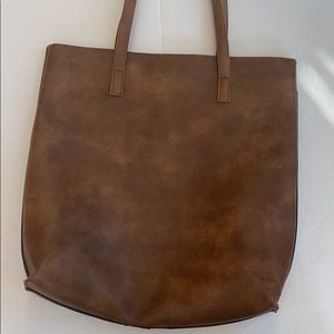 Faux Leather Book Bag, Large Brown Purse
